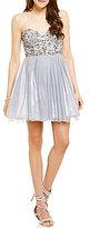 B. Darlin Strapless Beaded Bodice A-line Party Dress