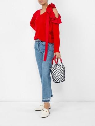 Valentino Red Ruffle Sweater