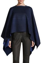 Loro Piana Liz Asymmetric Plaid Wool Poncho, Blue/Gray