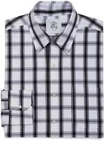 Brooks Brothers White and Navy Large Check Button-Down Shirt