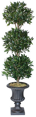"""One Kings Lane 72"""" 3-Ball Bayleaf Topiary with Urn Planter - Faux - arrangement, green; vessel, black"""