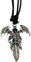 Zeckos Chrome Plated Grim Reaper Pendant Adjustable Cord Necklace