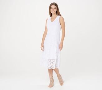 Isaac Mizrahi Live! Regular V-Neck Floral Knit Lace Midi Dress