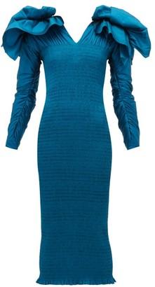Emilio De La Morena Bow-embellished V-neck Smocked Midi Dress - Womens - Mid Blue