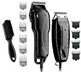 Andis Barber Combo-Powerful High-speed adjustable clipper blade & T-Outliner T-blade trimmer with fine teeth for dry shaving, outlining and fading With a BeauWis Blade Brush Included (Black)