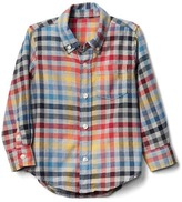 Gap Bright plaid button-down flannel shirt