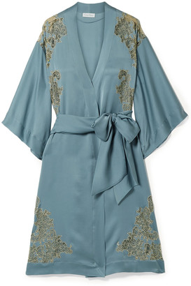 Carine Gilson Chantilly Lace-trimmed Silk-satin Kimono