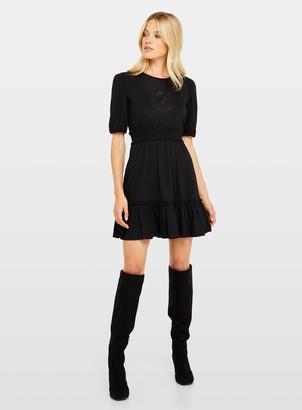 Miss Selfridge Black Short Sleeve Lace Bib Mini Dress