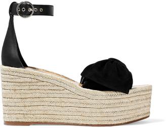 Valentino Bow-embellished Suede And Leather Platform Espadrille Sandals