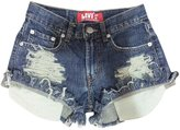 Excess Baggage Low Rise Shorts Levis Distressed Destroyed Ripped Shredded Jean Shorts-S