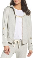 Monrow Women's Star Print Zip-Up Hoodie