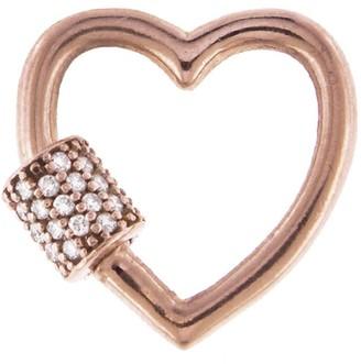Marla Aaron Baby Stoned Diamond Rose Gold Heart Lock