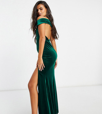 Jaded Rose Petite exclusive velvet maxi dress with cowl back in emerald green