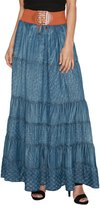 TheMogan Women's Casual Tiered A-Line Denim Long Maxi Skirt