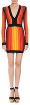 Balmain Striped V-Neck Long-Sleeve Mini Dress