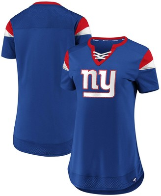 Women's NFL Pro Line by Fanatics Branded Royal New York Giants Draft Me Lace-Up T-Shirt