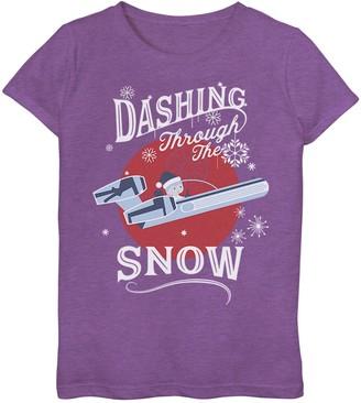 Star Wars Girls' 7-16 Luke Dashing Through Snow Christmas Tee