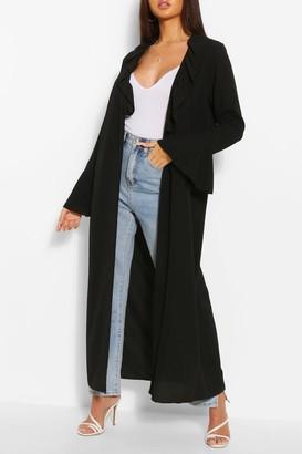 boohoo Ruffle Detail Belted Maxi Kimono