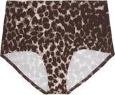 Norma Kamali High-rise leopard-print bikini briefs