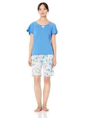 Karen Neuburger Women's Plus Size Short Sleeve Top and Bermuda PJ Set with Wicking Technology