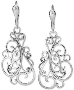 Carolyn Pollack Filigree Drop Earrings in Sterling Silver