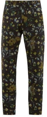 Martine Rose Dragon And Floral Satin-jacquard Trousers - Black Multi