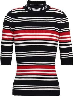 Nicholas Striped Ribbed Wool-blend Turtleneck Top