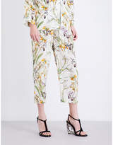 Alexander McQueen Wild Iris straight silk-crepe de chine pyjama trousers