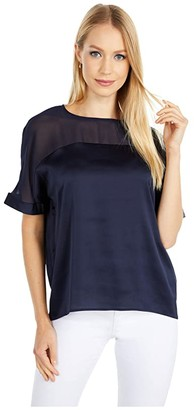 Vince Camuto Short Sleeve Chiffon Yoke Charmeuse Blouse (Night Navy) Women's Clothing