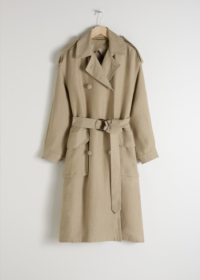 Belted Linen Blend Trench Coat