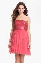 Aidan Mattox Embellished Bodice Mesh Dress (Online Only)