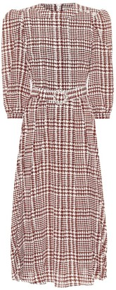 Alessandra Rich Houndstooth silk maxi dress