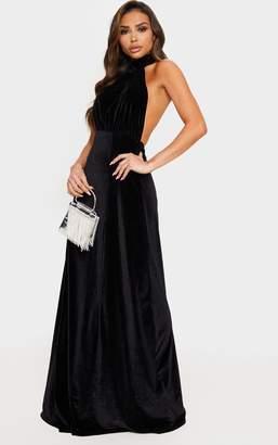 PrettyLittleThing Black High Neck Halterneck Velvet Maxi Dress