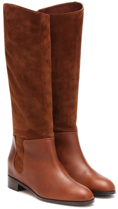 Aquazzura Duke Riding suede and leather boots