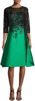 Rickie Freeman For Teri Jon 3/4 Sleeves Lace Bodice Gazaar Skirt Cocktail Dress