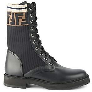 Fendi Women's Rockoko Knit Leather Combat Boots