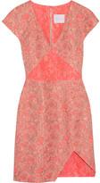 Neon paneled jacquard mini dress