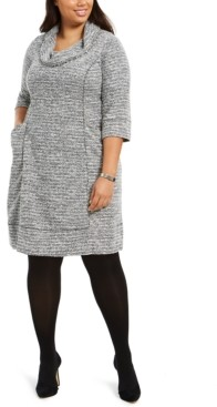 Robbie Bee Plus Size Cowlneck Sweater Dress
