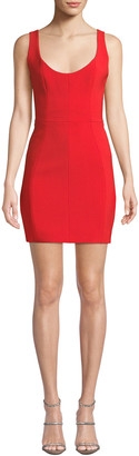 CARMEN MARCH Scoop-Neck Pique Body-Con Dress