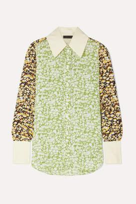 Stine Goya James Oversized Floral-print Crepe Shirt - Lime green