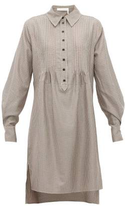 See by Chloe Pintuck-pleated Houndstooth Shirtdress - Womens - Multi