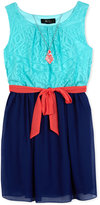 Amy Byer Lace-Bodice Dress & Necklace Set, Big Girls (7-16)
