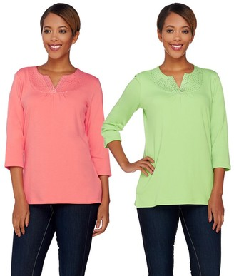 Factory Quacker Sparkle S/2 Ruched Split V-Neck T-shirts
