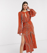 Asos Tall DESIGN Tall blouson linear embellished midi dress
