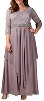 Alex Evenings Plus V-Neck Overlay Gown