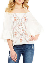 Takara Embroidered Front Tassel-Tie Bell-Sleeve Off-The-Shoulder Peasant Top