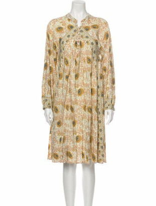 Natalie Martin Paisley Print Knee-Length Dress Yellow