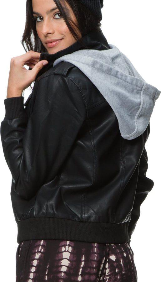 Hurley Girls Bruiser Faux Leather Bomber Jacket