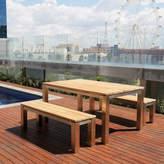 Uluwatu 3 Piece Teak Dining Set and Benches Table Size: 75 cm H x 100 cm W x 160 cm L