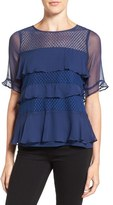 Ella Moss Women's 'Nikkita' Ruffle Silk Lace Top
